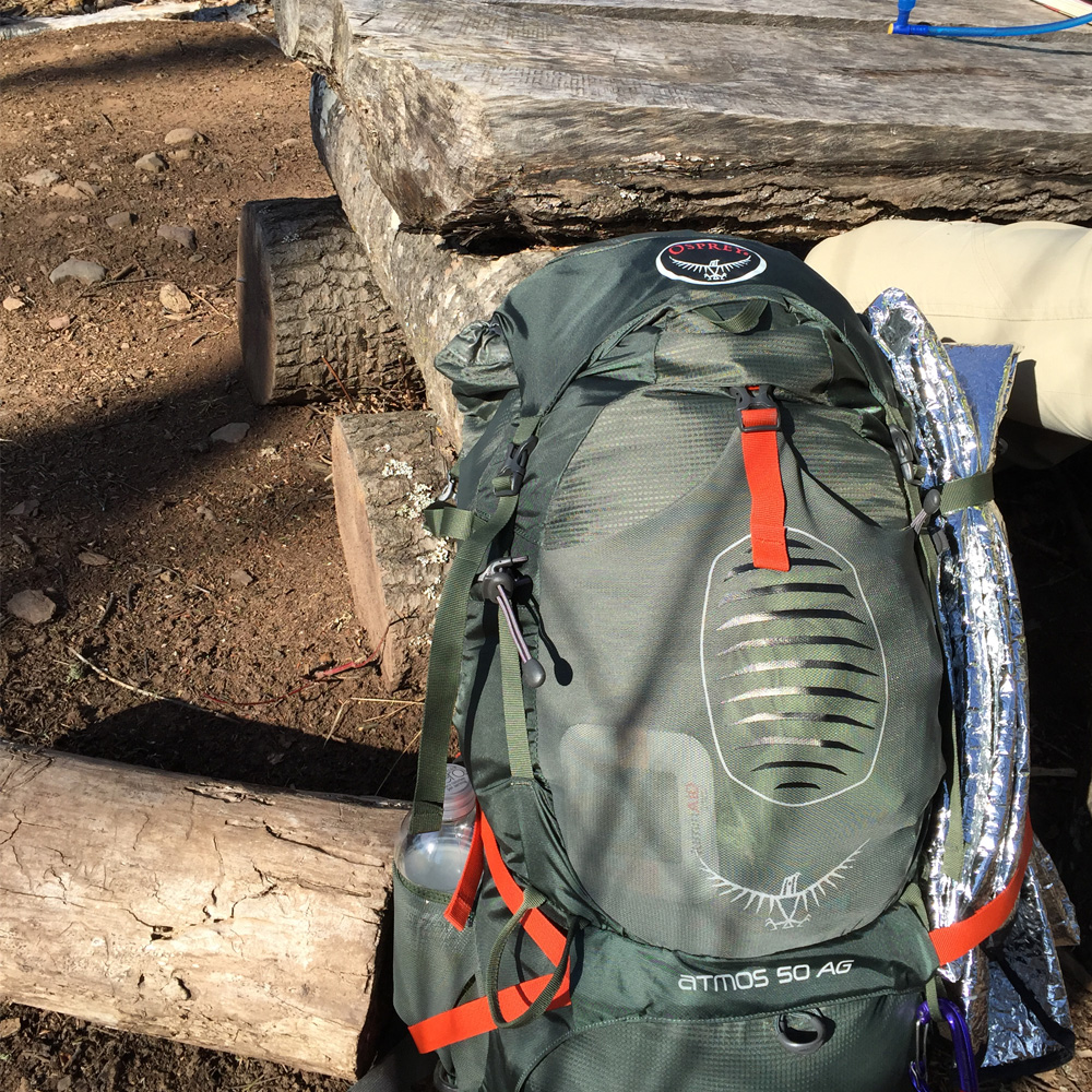 End of a day backpacking with the Osprey Atmos AG
