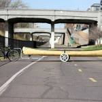 17 feet long... the campaign's canoe stopped by GearJunkie hq on Minneapolis' Midtown Greenway Trail