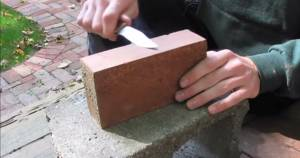 sharpen knife with brick