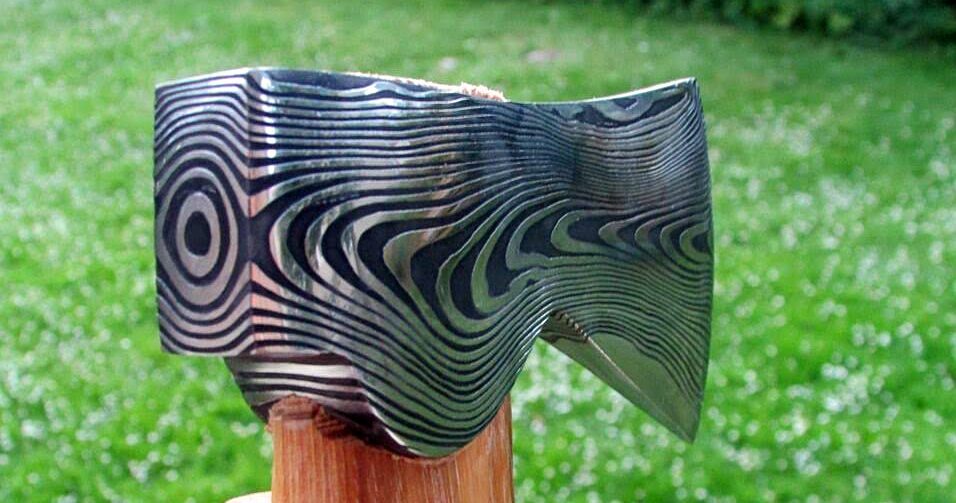 Swedish Steel Hand Forged Damascus Steel Hatchet