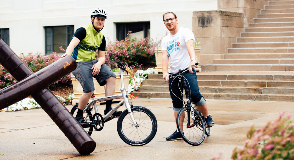 Image result for men riding Folding Bikes