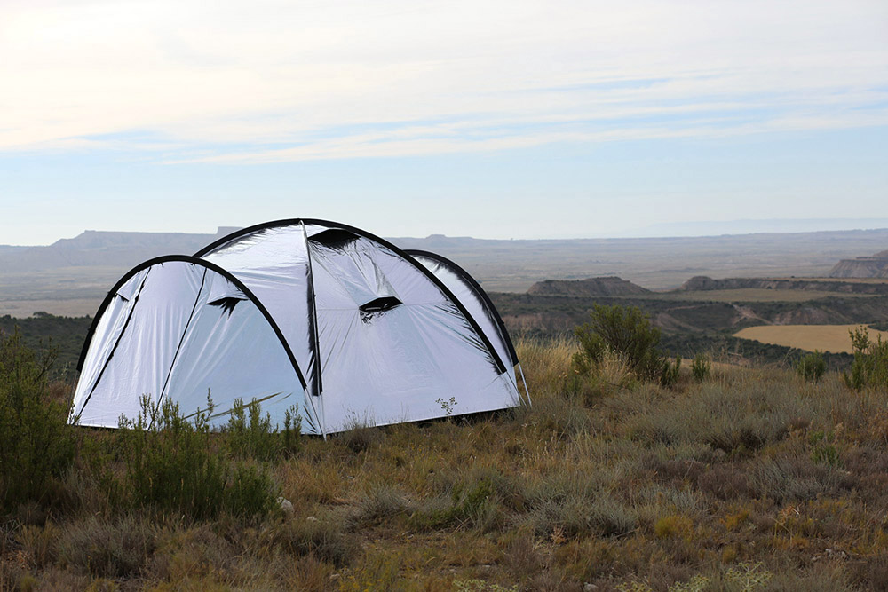 reflective-c&ing-tent & Shiny u0027Metalu0027 Fabric Tent Reflects Heat
