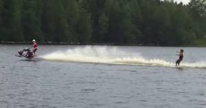 snowmobile water skier