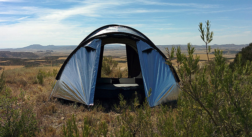 Shady oasis & Shiny u0027Metalu0027 Fabric Tent Reflects Heat
