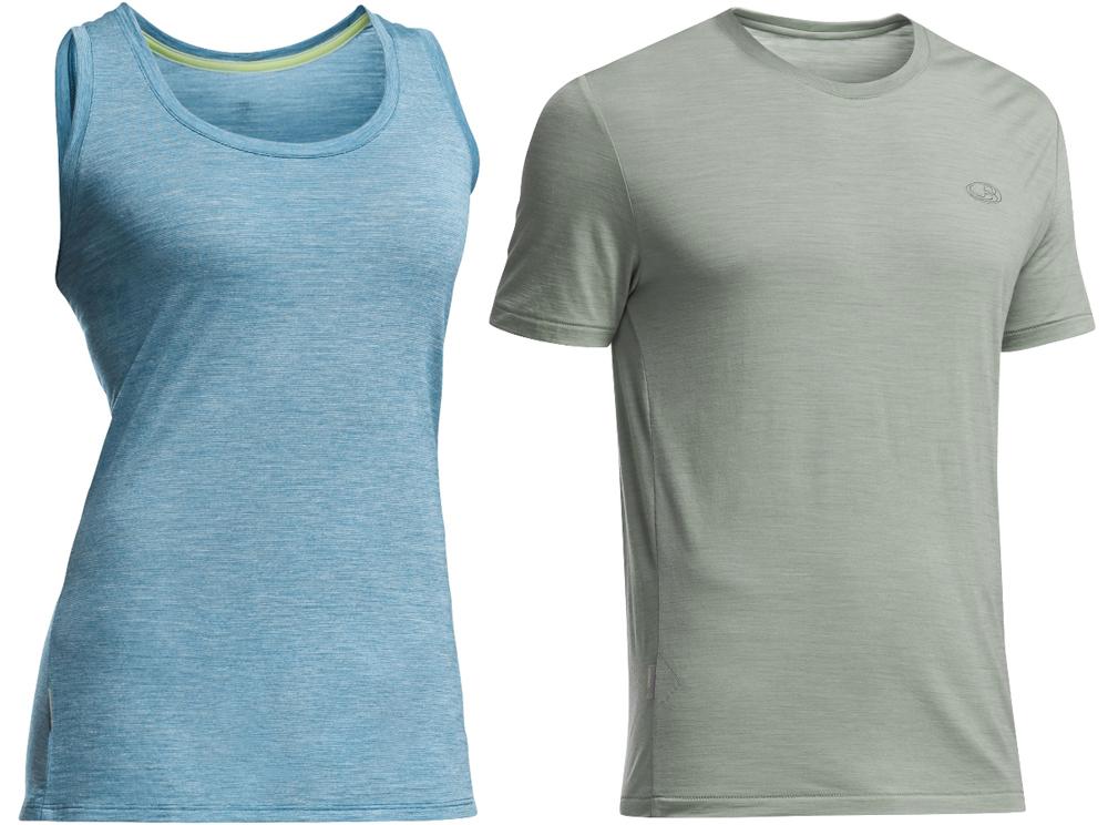 7197156a968442 Icebreaker women s Cool-Lite Sphere Tank Stripe and men s Sphere short  sleeve