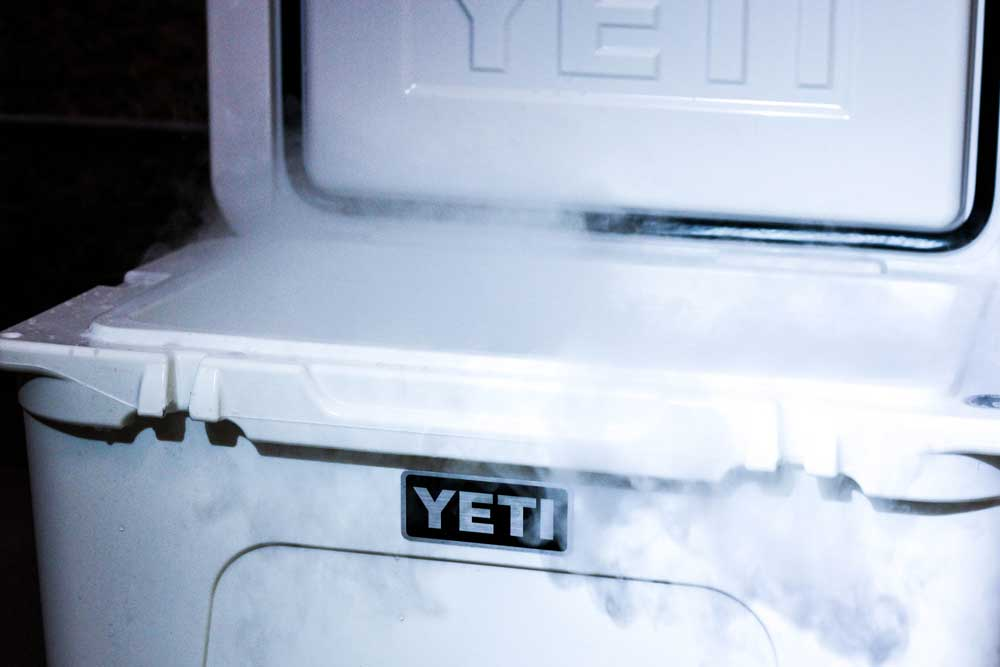 Smoky and extremely cold dry ice is a mysterious sublimating matter